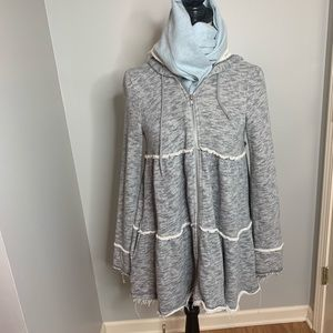 Free People Tiered trapeze Hoodie! Size XS